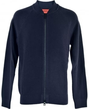 Hugo Navy Full Zip 'Saio' Knitwear