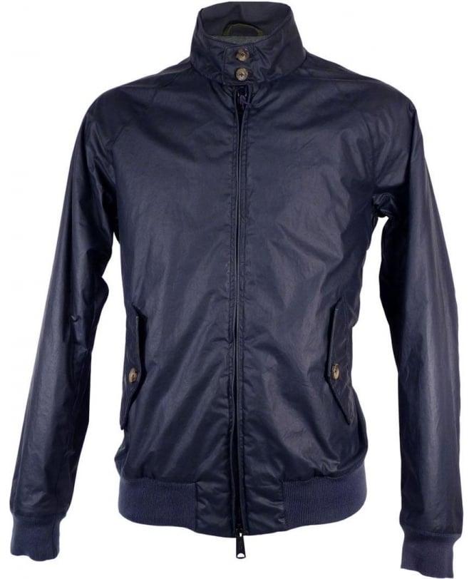 Baracuta Navy G9 Padded Knit Logo Waxed Cotton Jacket