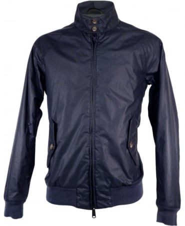 Navy G9 Padded Knit Logo Waxed Cotton Jacket