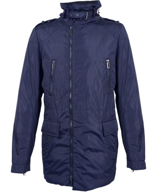 Hamaki-Ho Navy GB742H Off Centre Zip Coat