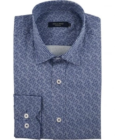 Holland Esq Navy Gingham Puzzle Shirt