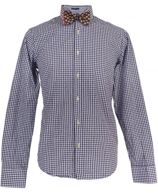 Scotch & Soda Navy Gingham Shirt & Bow Tie