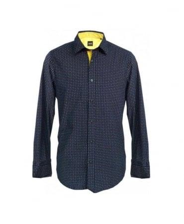 Hugo Boss Navy & Gold Pattern Cord Lucas_11 50254082 Shirt