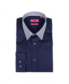 Hugo Navy, Grey Collar Slim Fit Shirt