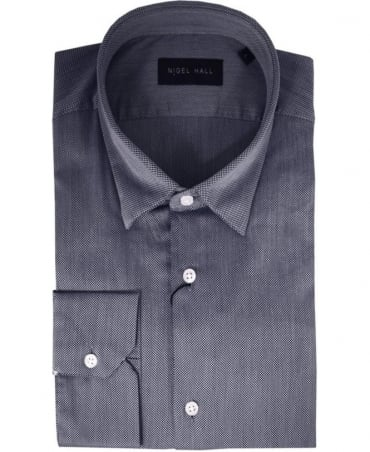 Nigel Hall Navy & Grey Textured 'Oscar' Shirt