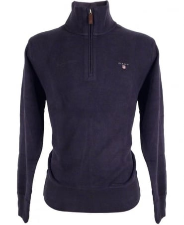Gant Navy Half Zip Sacker Rib Sweatshirt