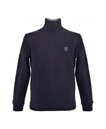 Armani Navy Half Zip Sweatshirt