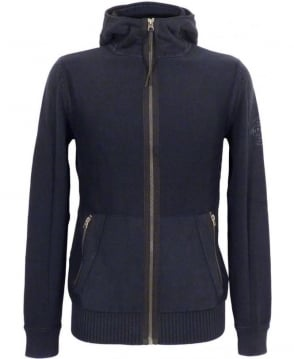 Replay Navy Hooded Full Zip Knitwear