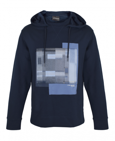 Navy Hooded Textured Stitched Square Sweatshirt