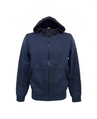Hugo Boss Navy Hooded Ztarter Full Zip Sweatshirt