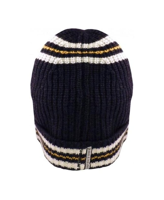 Armani Jeans Navy Hooped Wool Mix Hat