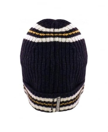 Armani Navy Hooped Wool Mix Hat