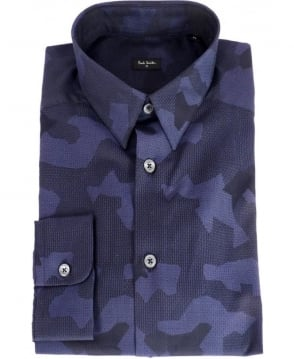 Paul Smith  Navy Jacquard Camo Slim Fit Shirt