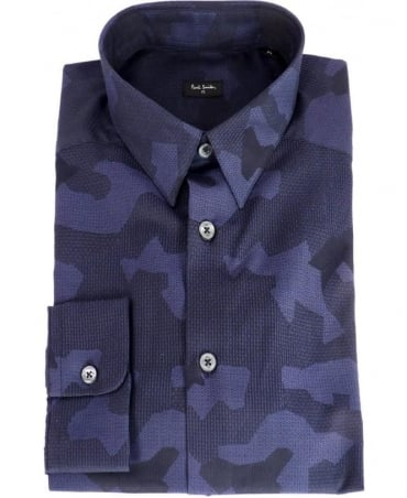 Paul Smith - PS Navy Jacquard Camo Slim Fit Shirt