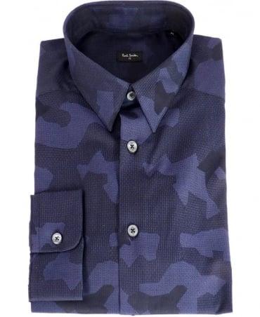 Paul Smith - PS Navy Jacquard Camo Slim Fit Shirt