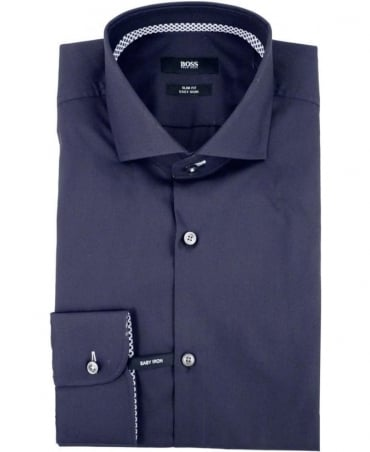 Hugo Boss Navy Jery 50291446 Contrast Trim Shirt