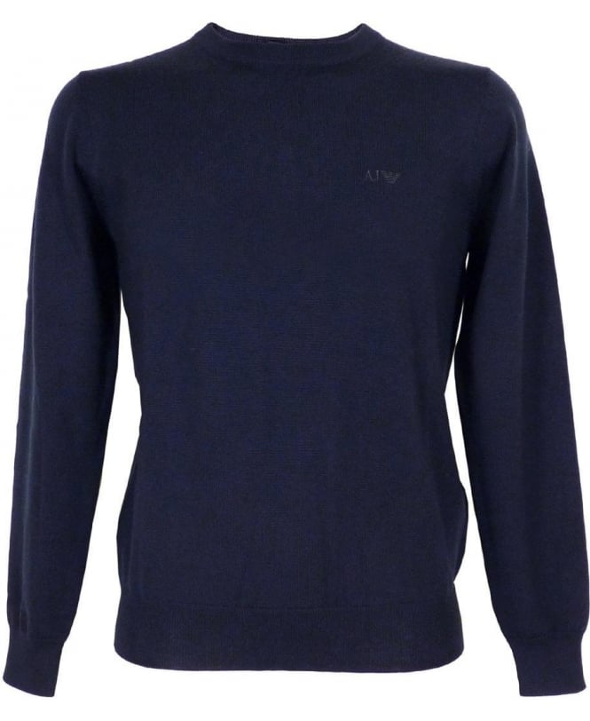 Armani Navy Jumper In Virgin Wool
