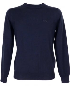 Armani Jeans Navy Jumper In Virgin Wool