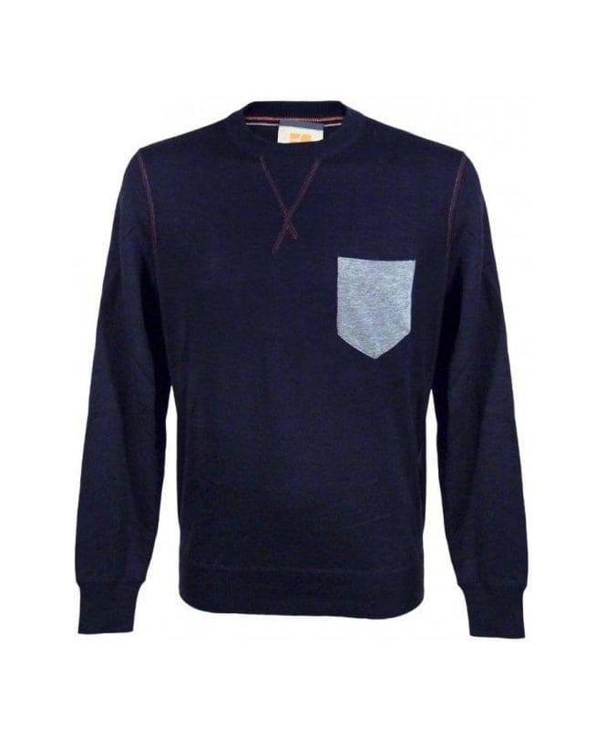 Hugo Boss Navy Kebbe Chest Pocket Sweatshirt