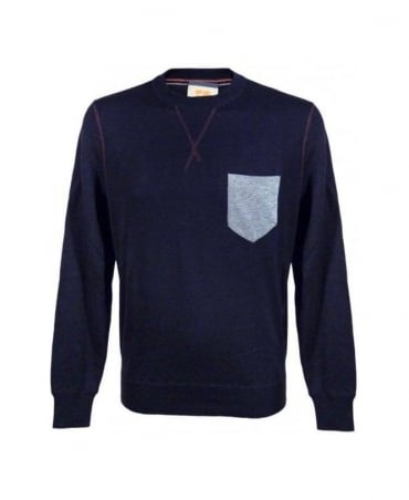 Navy Kebbe Chest Pocket Sweatshirt