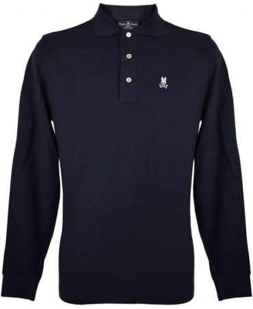 Psycho Bunny Navy KN227 Classic Long Sleeve Polo