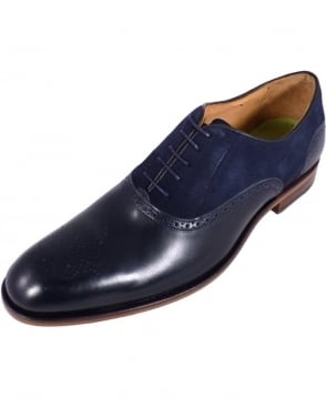 Oliver Sweeney Navy Leather & Suede Lace-Up Tondela Brogue