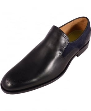 Oliver Sweeney Navy Leather & Suede Slip On Piva Shoes
