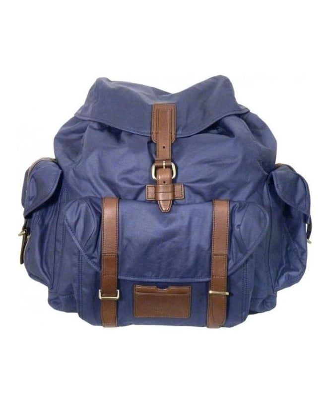 Hugo Boss Navy Leather Trimmed Rucksack
