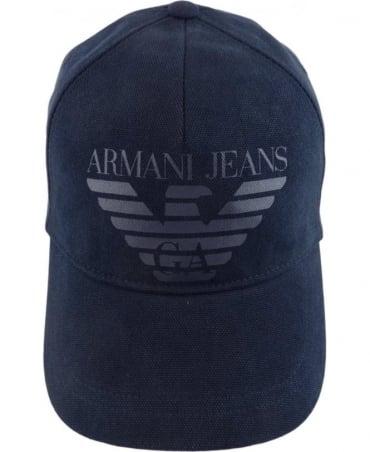 Armani Jeans Navy Logo Print Cap