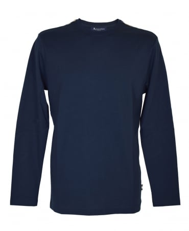 Aquascutum Navy Long Sleeve Club Check T-Shirt