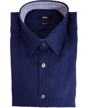 Hugo Boss Navy Lucas 11 50283601 Linen Shirt