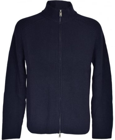 Nigel Hall Navy 'Marco' Ribbed Full Zip Cardigan