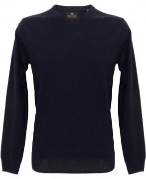 Scotch & Soda Navy Merino Wool V-Neck Pullover