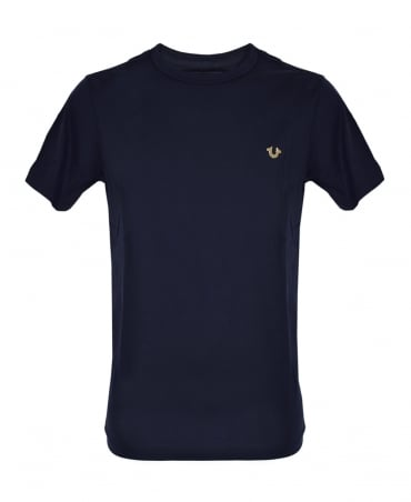 True Religion Navy Metal Logo Crew Neck T-Shirt