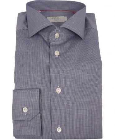 Eton Shirts Navy Micro-Pattern Satin 10207351119 Shirt