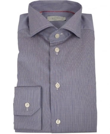 Eton Shirts Navy Micro-Pattern Satin 10207351127 Shirt
