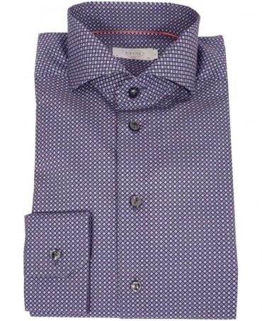 Eton Shirts Navy Micro Patterned Slim Fit Shirt