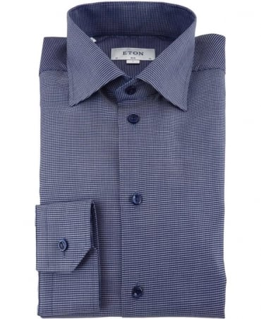 Eton Shirts Navy Micro Print Signature Twill Shirt