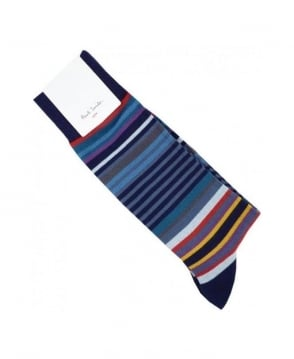 Paul Smith - Accessories Navy Multi stripe Socks
