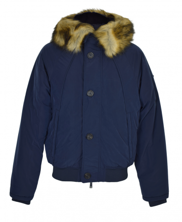 Navy Padded Faux Fur Jacket