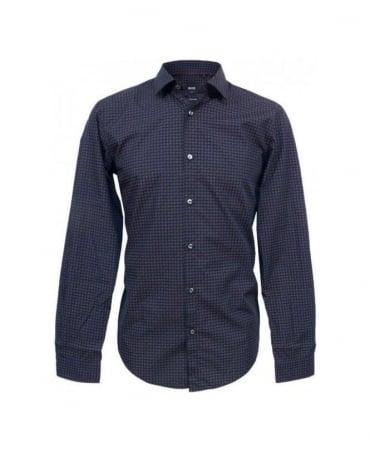 Hugo Boss Navy Patterned Slim Fit Nemos Shirt