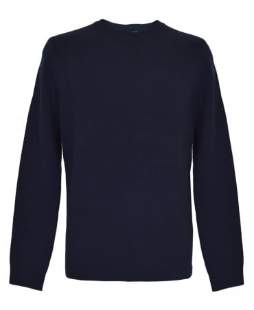 Aquascutum Navy Pennington With Check Elbow Patches Jumper