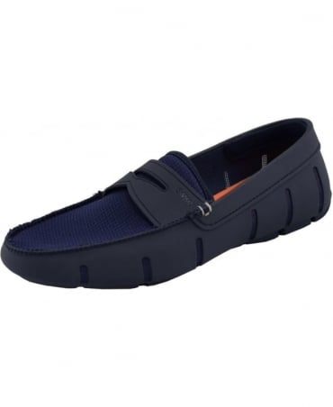 Swims Navy Penny Nylon And Rubber Loafer