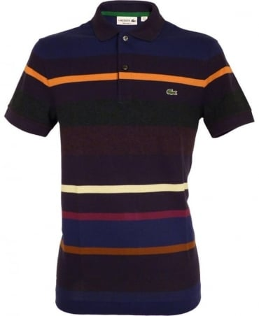 Lacoste Navy PH2181 Block Colour Stripe Polo