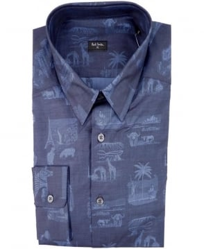 Paul Smith  Navy PMXD/356M/305 Souvenir Bandana Slim Fit Shirt