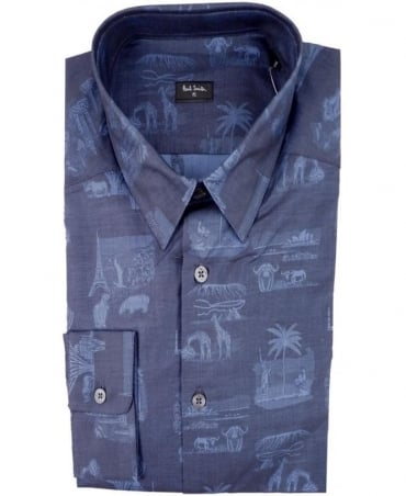 Paul Smith - PS Navy PMXD/356M/305 Souvenir Bandana Slim Fit Shirt