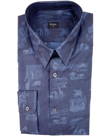 Paul Smith - PS Navy PMXD/356M/305 Souvenir Bandana Slim Fit Shirt