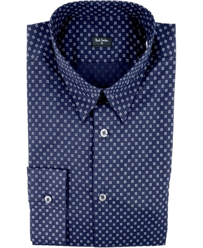 Paul Smith Navy PMXD/866N/330 Pixelated Shapes Slim Fit Shirt