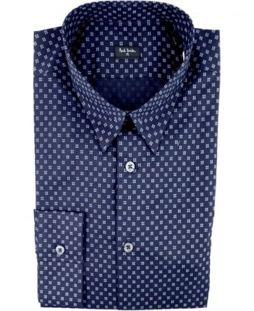 Paul Smith - PS Navy PMXD/866N/330 Pixelated Shapes Slim Fit Shirt