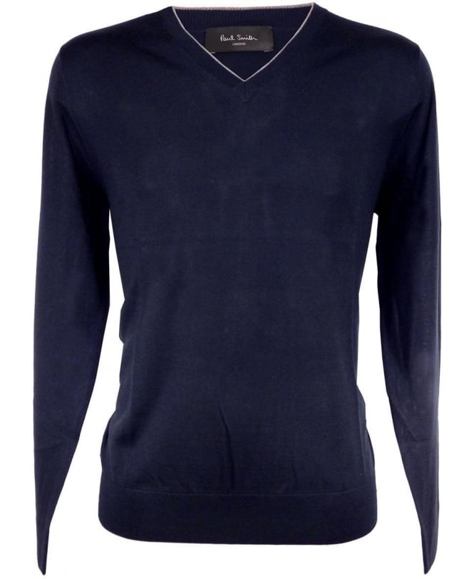 Paul Smith - London Navy PMXL/971N/K90 Grey Trim V-Neck Knitwear
